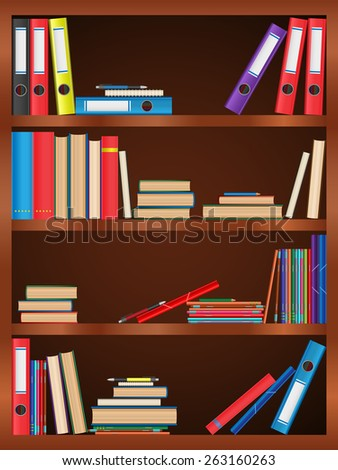 Books, textbook, notebook, folder, bookcase, shelf, pen, pencil. Design of vector illustrations. - stock vector