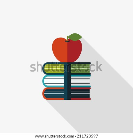 Books tower with apple flat icon with long shadow,eps10 - stock vector