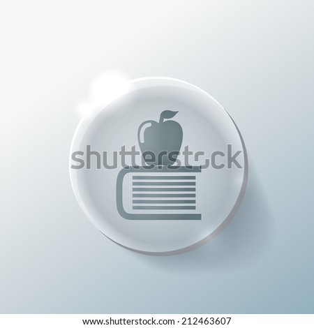 Books tower with apple icon. Education sign - stock vector