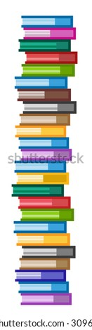 Books vector logo icons set. Books skyscraper. Sale background. Book logo. Book open. Back to school background. Education, university, college symbol or knowledge, books stack, publish, page paper - stock vector