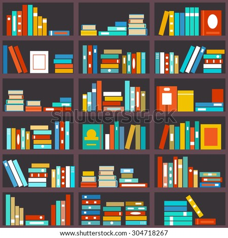 Bookshelf seamless background. Library education, shelf row, literature and school, knowledge and study, vector illustration - stock vector