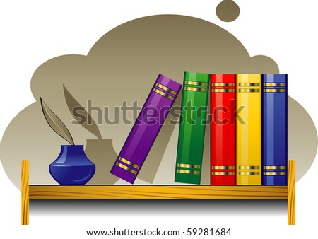 Bookshelf with books and inkwell - stock vector