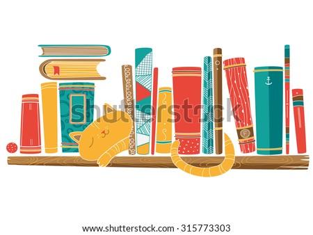 Bookshelf with cat. Vector - stock vector