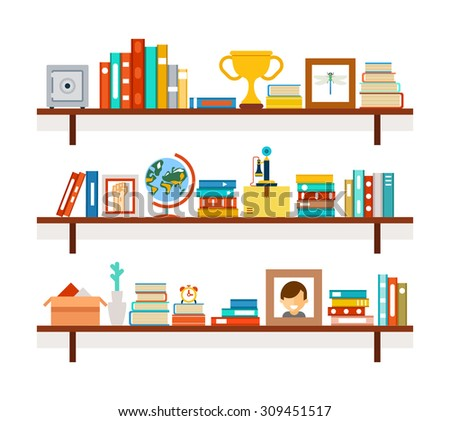 Bookshelves with books and photos, premium cup and cactus in pot - stock vector