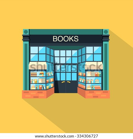Bookstore. Books, science, knowledge. Store building flat icon with a long shadow. Storefront and a shelf with books. Vector flat illustration - stock vector
