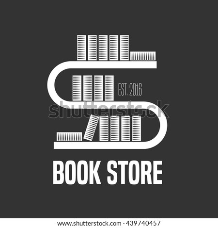 Bookstore, bookshop vector logo, emblem, sign, symbol, icon template. Books on the shelf graphic design element for book shop, store - stock vector