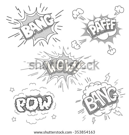 Boom and Comic book explosion set. Cartoon blast  Hand drawn vector. - stock vector