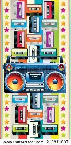 Boom box & cassettes - stock vector