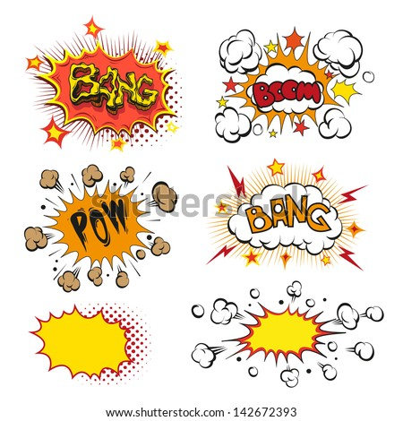Boom. Comic book explosion set - stock vector