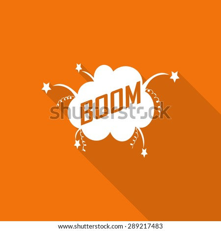 Boom! - Comic Speech Bubble flat icon with long shadow. - stock vector