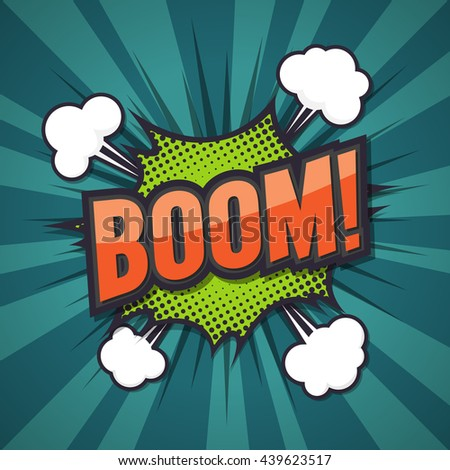 Boom, comic speech bubble, vector illustration. - stock vector