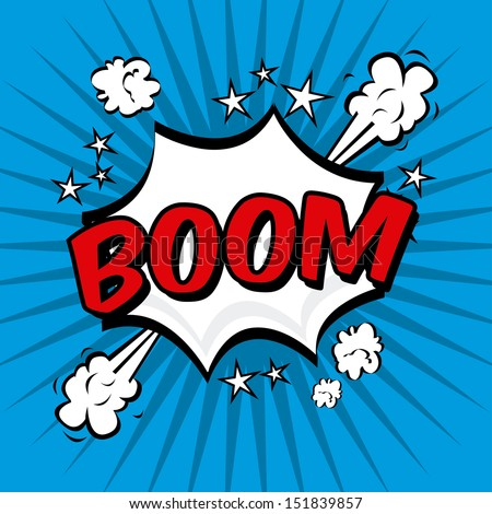 boom comics icon over blue background vector illustration   - stock vector