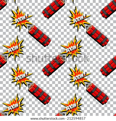 Boom of the dynamite seamless pattern. Comic book explosion. Vector EPS - stock vector