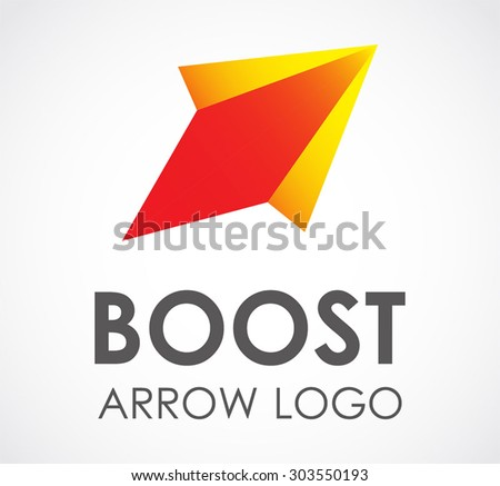 Boost arrow fly start abstract vector logo design template business rocket technology icon company identity symbol concept - stock vector