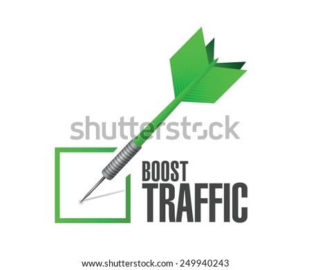 boost traffic dart check mark illustration design over a white background - stock vector