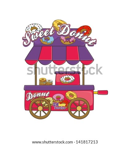 booth stand donuts - stock vector