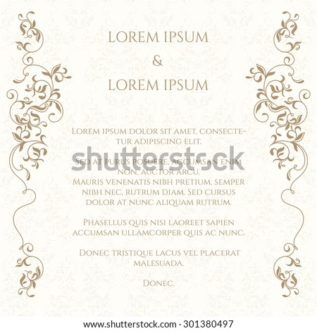 Border and classic seamless pattern. Template for greeting cards, invitations, menus, labels. Graphic design page. Wedding invitation. - stock vector