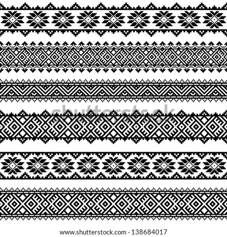 Border decoration elements patterns in black and white colors. Most popular ethnic border in one mega pack set collections 3 . Vector illustrations. - stock vector