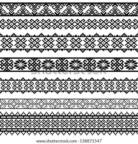 Border decoration elements patterns in black and white colors. Most popular ethnic border in one mega pack set collections 2 . Vector illustrations. - stock vector