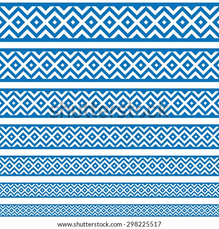 Border decoration elements patterns in blue and white colors. Geometrical ethnic border in different sizes set collections. Vector illustrations. Can use as tattoos, frames, patterns, dividers - stock vector