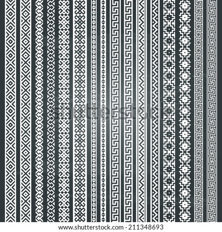 Border decoration elements patterns. Most popular vertical ethnic border in one mega pack set collections. Isolated on chalkboard background. Vector illustrations. Could be used as divider, frame, etc - stock vector