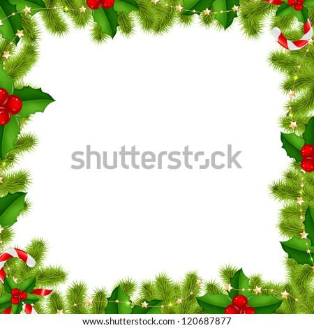 Border Fir-tree Branches With Gold Stars And Holly Berry Isolated On White Background With Gradient Mesh, Vector Illustration - stock vector
