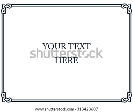Border frame deco plaque vector art simple line corner  - stock vector