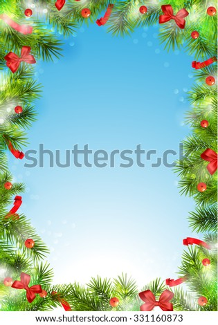 Border, frame from christmas tree branches. - stock vector
