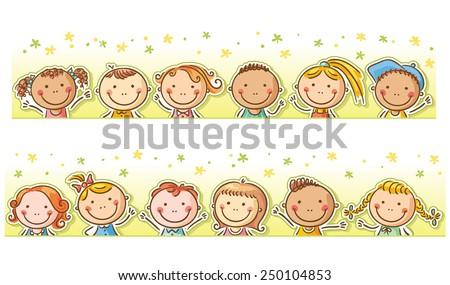 Border/frame with twelve happy cartoon kids - stock vector