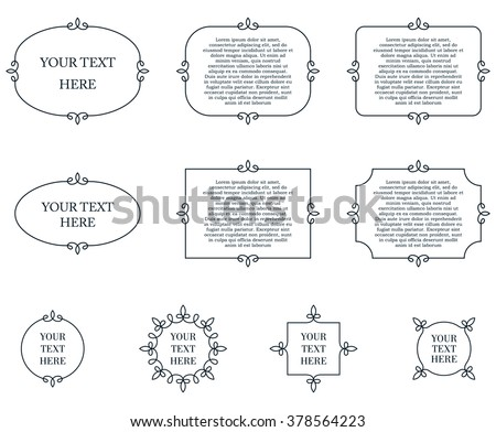Border frames calligraphic simple line shapes vector labels - stock vector