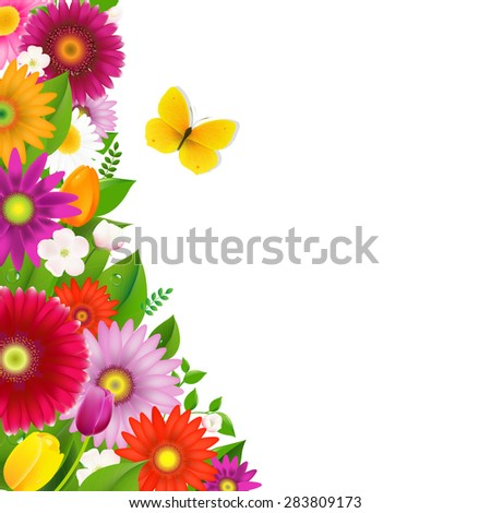 Border From Flowers With Butterfly With Gradient Mesh, Vector Illustration - stock vector