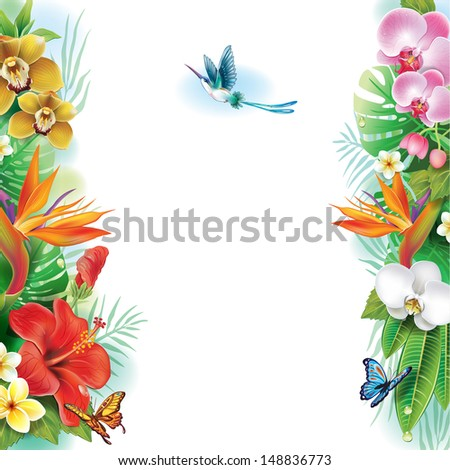 Border from tropical flowers and leaves - stock vector