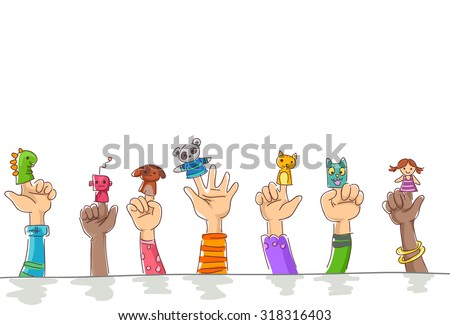 Border Illustration of Kids Wearing Finger Puppets of Cuddly Pets and Robots - stock vector
