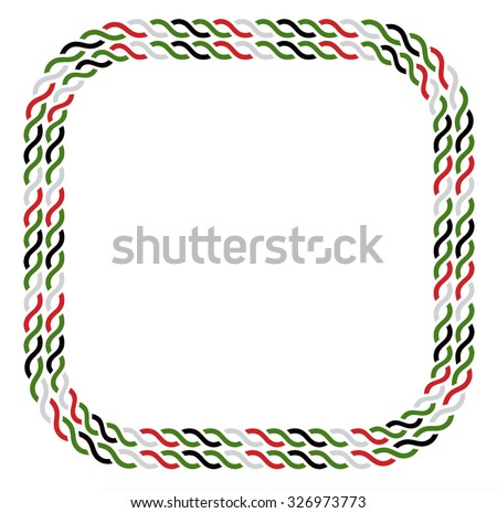 Border made with UAE national colors. Rope vector graphic in rectangular shape. - stock vector