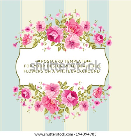 Border of flowers in vintage style. Vector illustration. - stock vector