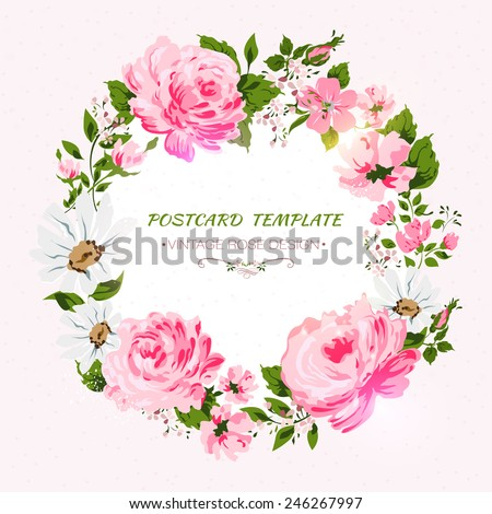 Border of flowers with place for a text.  Vector illustration - stock vector