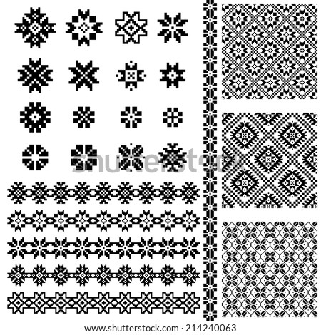 Borders and decoration elements patterns in black and white colors. Most popular ethnic  signs in one mega pack set collections. Vector illustrations  - stock vector