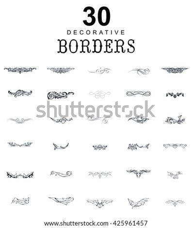 Borders and dividers decorative vignette elements set for design. Vector calligraphic - stock vector