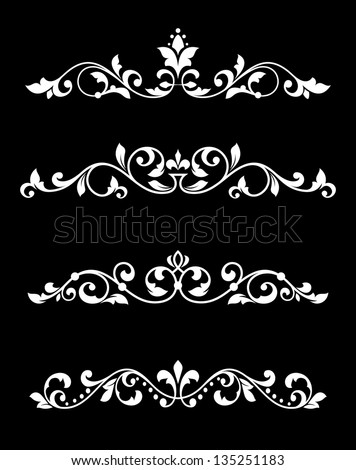 Borders and dividers set in floral retro style. Jpeg version also available in gallery - stock vector