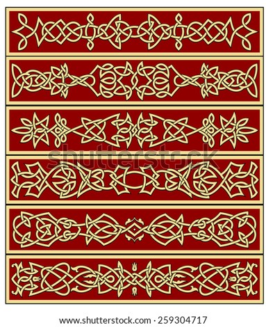 Borders and frames in celtic ornament style for ornate and embellishments - stock vector