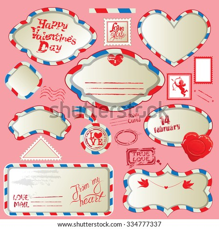 Borders in post mail style with handwritten calligraphic text Happy Valentines Day, design elements for holidays. Collection of stamps, envelops, labels, Frames. Made with love. - stock vector