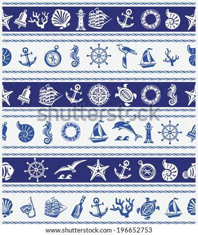 Borders with Nautical and sea symbols - stock vector