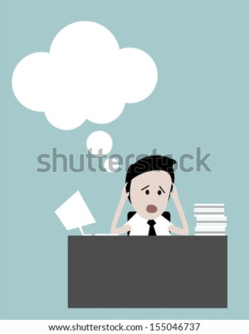 Bored businesspeople: man sitting at desk staring bored upwards. - stock vector