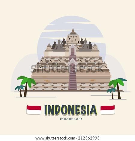 Borobudur. indonesia landmark. asean set - vector illustration - stock vector