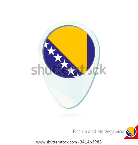 Bosnia and Herzegovina flag location map pin icon on white background. Vector Illustration. - stock vector