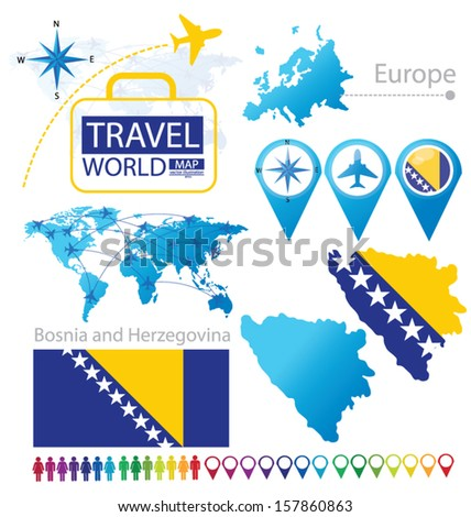 Bosnia and Herzegovina. flag. World Map. Travel vector Illustration. - stock vector