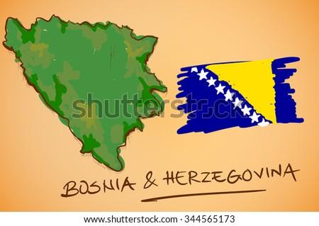 Bosnia & Herzegovina Map and National Flag Vector - stock vector