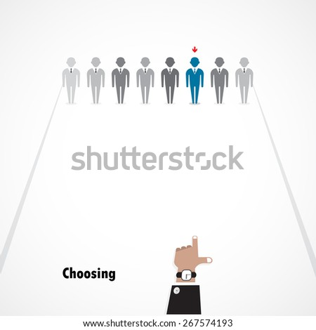Boss choosing the perfect businessman for the job. Business idea concept. Vector illustration - stock vector
