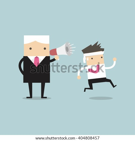 Boss commanding officers into a megaphone. Employees run work. - stock vector