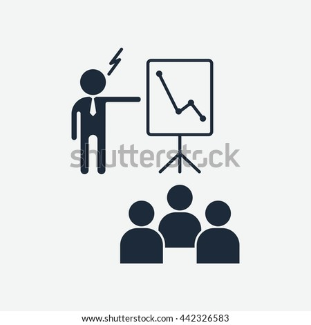 Boss criticizes team. Education and management icons. Cartoon flat vector illustration. Objects isolated on a white background. - stock vector